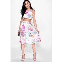 Floral Box Pleat Midi Skirt Co-Ord Set - blush