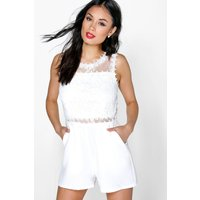 Lucy Crochet Playsuit - ivory