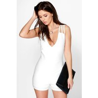 Strappy Textured Playsuit - ivory