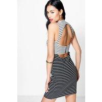 Stripe Contrast Open Back Bodycon Dress - black