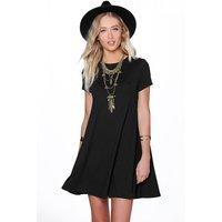Open Back Swing Dress - black