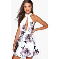 High Neck Satin Floral Skater Dress - black