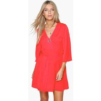 Angel Sleeve Belted Dress - red