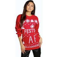 Festive A.F. Christmas Jumper - red