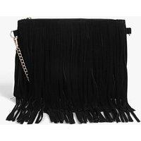 Fringed Loop Chain Strap Cross Body Bag - black