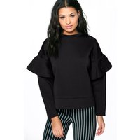 Ruffle Sleeve Sweater - black