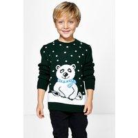 Kids Polar Bear Christmas Jumper - bottle green