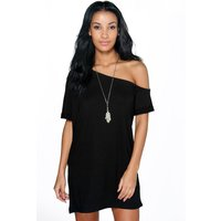 Off The Shoulder Slouchy Dress - black