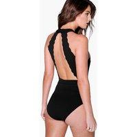Scallop Edge Open Back Body - black