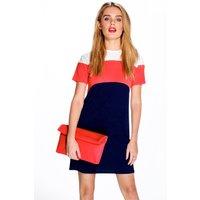 Colour Block Shift Dress - poppy