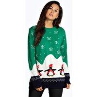 Penguin Christmas Jumper - green