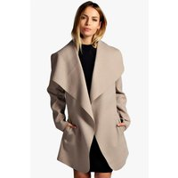 Belted Waterfall Coat - stone