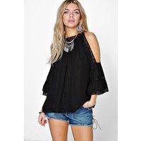 Crochet Trim High Neck Open Shoulder Blouse - black