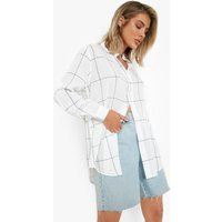 Large Grid Oversized Shirt - white