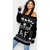 Festive A.F. Christmas Jumper - black