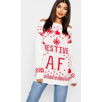 Festive A.F. Christmas Jumper - cream