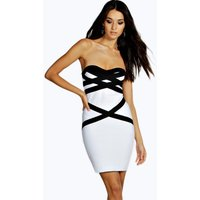 Ara Colour Block Bandeau Dress - white