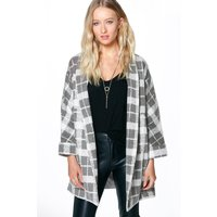 Kayleigh Belted Blanket Check Coat - grey