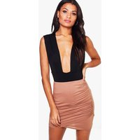 Rouched Wrap Mini Skirt - camel