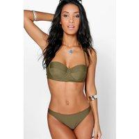 Mix Match Longline Underwired Bikini Top - khaki