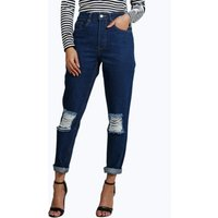 70s Wash Knee Rip Mom Jeans - blue