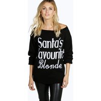 Santas Favourite Blonde Christmas Jumper - black