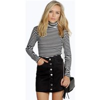 Black Denim Button Through Mini Skirt - black