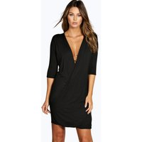 Wrap 3/4 Sleeve Dress - black