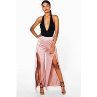 Split Front Wide Leg Palazzo Trousers - rose