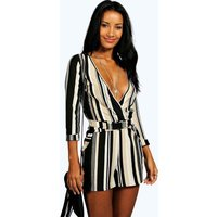 Striped Relaxed Self Belt Playsuit - multi