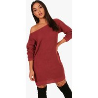 Slash Neck Fisherman Jumper Dress - rose