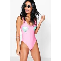 Shell Placement Scoop Back Swimsuit - coral