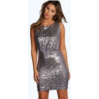 All Over Sequin Drop Arm Bodycon Dress - lilac
