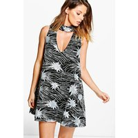 Kate Sequin Printed Swing Dress - silver