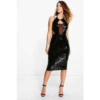 Anna Sequin & Mesh Panelled Midi Dress - black