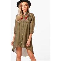 Ana Embroidered Shirt Dress - khaki