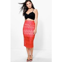 Lace Contrast Midi Skirt - red