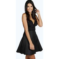 Pleat Front Full A Line Skirt - black