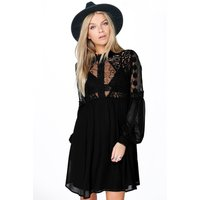 Lola Lace High Neck Babydoll Dress - black