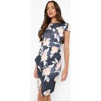 Asymmetric Peplum Floral Print Midi Dress - multi