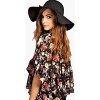 Amber Oversize Wool Floppy Hat - black