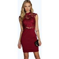 High Neck Lace Midi Dress - berry