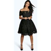 Lisa Off Shoulder Lace Skater Dress - black