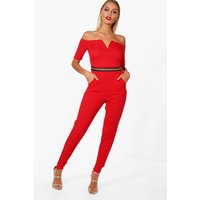 Gold Trim Bardot Jumpsuit - red