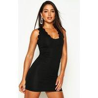 Scalloped Edge Bodycon Dress - black