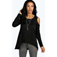 Ribbed Cold Shoulder Long Sleeve Top - black
