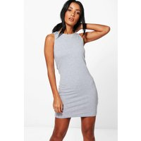 Racer Front Jersey Bodycon Dress - grey
