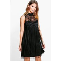 Aida Beaded High Neck Babydoll Dress - black