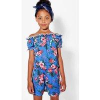 Tropical Print Bardot Playsuit - blue
