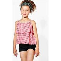 Double Layer Gingham Swing Vest - red